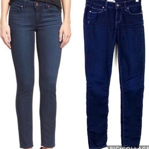 PAIGE dark solid blue wash stretch skinny jeans